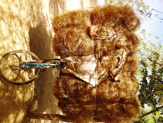 Un vélo garé avec un tas de foin. Le propriétaire se repose.