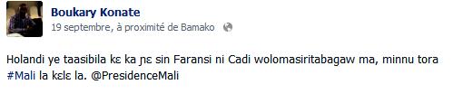un exemple de phrase en Bambara sur Facebook