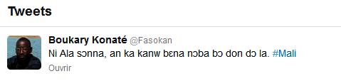 Un exemple de tweet en Bambara